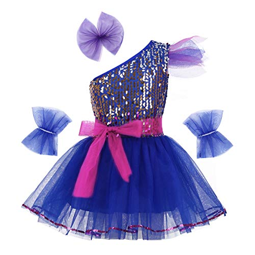 dPois Kids Girls' Jazz Ballet Performance One-Shoulder Shiny Sequins Tutu Dress with Hairclip Wristband and Belt 4Pcs Set Blue - Blue Shoulder Sequin One