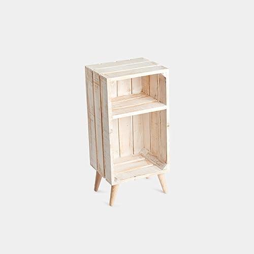 Rebajas oferta Mesita de noche, caja, cajón de fruta de madera de pino en color blanco decapado, con estante interior, balda, leja y patas de madera, cuadradas, cilindro, cónicas, hierro, 60x30x25,: Amazon.es:
