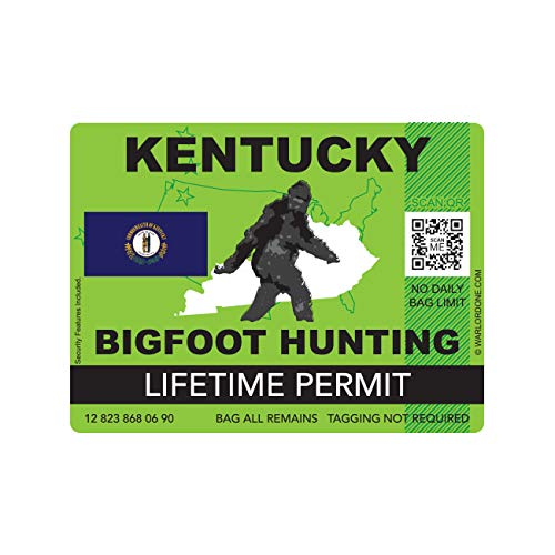 fagraphix Kentucky Bigfoot Hunting Permit Sticker Die Cut Decal Sasquatch Lifetime FA Vinyl - 4.00 Wide