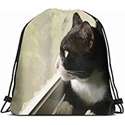 Ahawoso Drawstring Backpack String Bag 14X18 Pet Tuxedo Cat Looking Outside Window Free Animals Wildlife Interiors Animalia Black26white Carnivora Feline Sport Gym Sackpack Hiking Yoga Travel Beach
