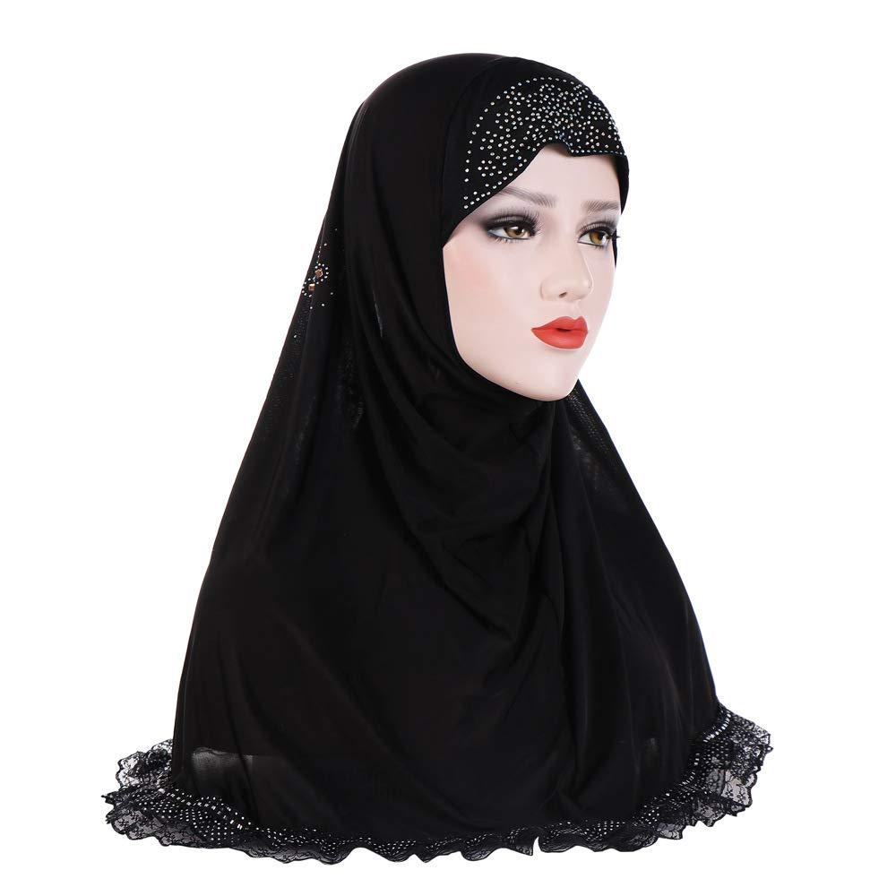 Romote Damen Kopftuch Schwarz Schwarz 10