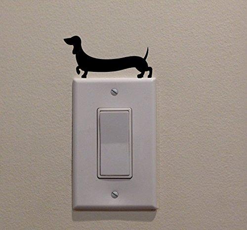 YINGKAI Cute Long Weiner Dog Dachshund on Light Switch Decal Vinyl Wall Decal Sticker Art Living Room Carving Wall Decal Sticker for Kids Room Home Window Decoration