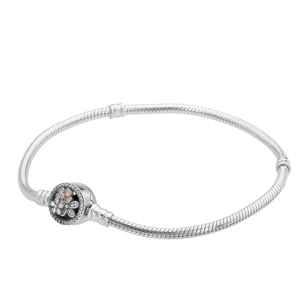 Pandora Women's Moments Silver Bracelet with Poetic Blooms Clasp - 18 cm - 590744CZ-18