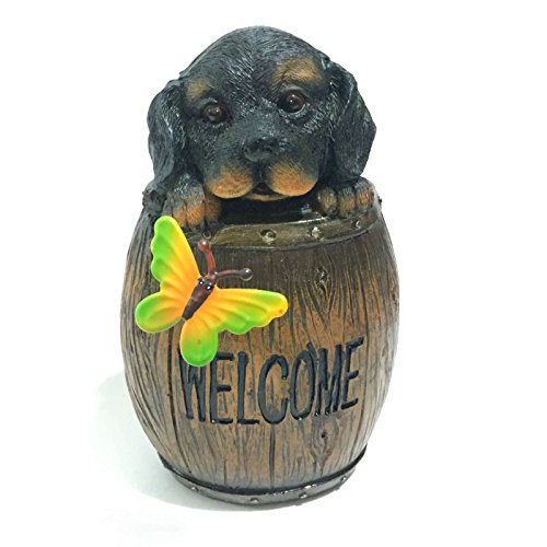 Resin Decoration Puppy Cask Welcome Dog Garden Statues (Welcome Dog Statue)