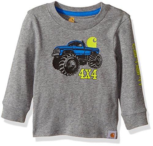 Carhartt Baby Boys' Little Long Sleeve Tee Shirt, 4X4 Dark Grey, 12M ()