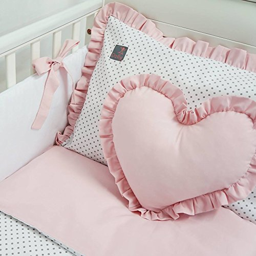 **NEW EXCLUSIVE & LUXURY BABY GIRL BEDDING SET - white, grey polka dot on white & powder pink - DUVET, PILLOW, DUVET COVER, PILLOWCASE, BUMPER, COT TIDY + DECORATIVE CUSHION IN THE SHAPE OF HEART to FIT COT OR COT BED (please see dimensions in description)