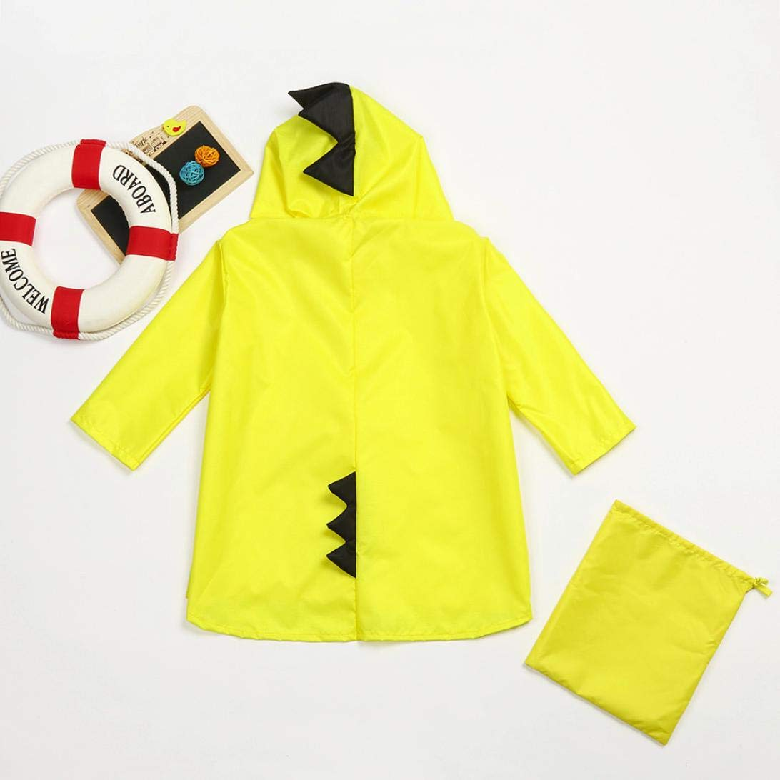 H.eternal Super Waterproof Kindergarten Girl Boy Carton Hood Jacket Outdoor Lightweight Cagoule Kagool Packable Casual Raincoat+Bag Dinosaur Windfight Cover Rainwear for 2-7 Years Old