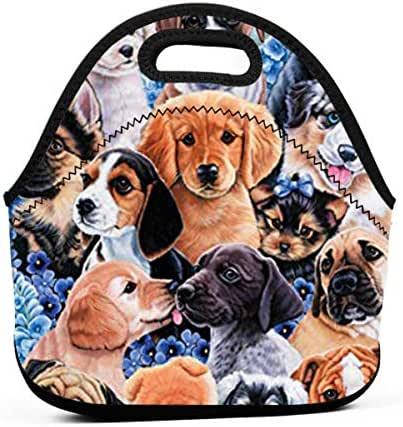 Ahoge Puppy Collage Neoprene Lunch Bag Tote Insulated Lunchbox Food Container Reusable Grocery Handbag Bags Office Cooler Warm Pouch Boys Girls