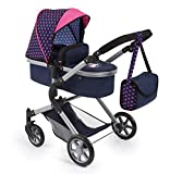 Bayer Design 18154AA City Neo Dolls Pram with Changing Bag, Blue/Pink