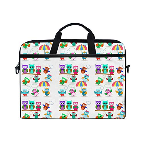 Laptop Bag 15.6 inch Owls Set in Different Poses Notebook Computer Briefcase Handbag Carrying Case Tablet Bag