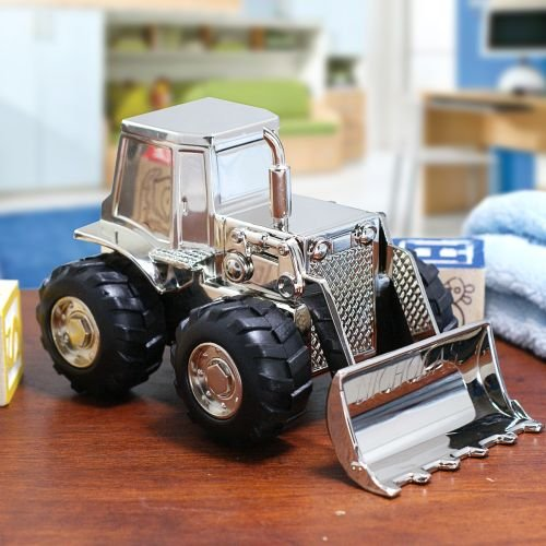 Center Gifts Personalized Front End Loader Tractor Piggy Bank Custom Name Engraved by Center Gifts