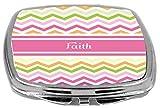 Rikki Knight Pink Chevron Name Design Compact Mirror, Faith , 3 Ounce
