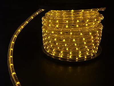 LUISHA 100ft Yellow 13mm LED Flexible Rope Light Kit for Indoor / Outdoor Lighting, Home, Garden, Patio, Shop Windows, Christmas, New Year, Wedding, Birthday, Party, Event
