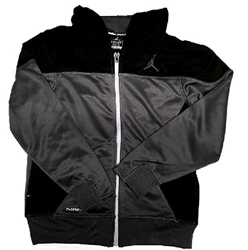 Nike Boys AIR JORDAN Therma Fit Full Zip Hooded Jacket Large Gray Black