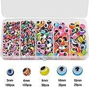 300Pcs/Box Fishing Eye Beads Assorted Hard Plastic Glass Fishing Beads Bass Fishing Tackle Accessories 5mm 6mm