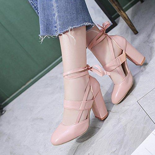tacón Forty solo zapatos mujeres Donyyyy two de ahuecado con zapatos áspero EPxAw