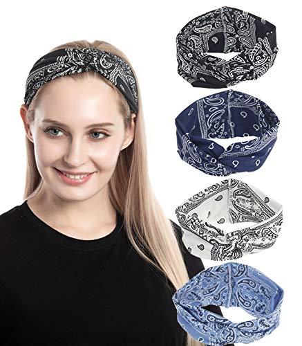 4 Pack Women Headbands Boho Floal Style Criss Cross Elastic Turban Head Wrap Workout Headband Twisted Hair Band Hair Accessories (4 Color Pack E)