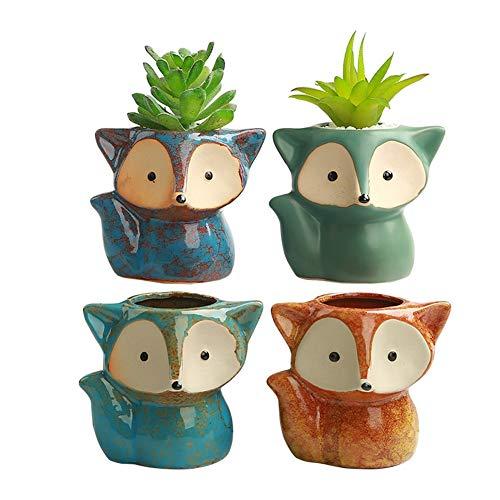 winemana Set of 4 Ceramic Succulent Pots, Fox Shaped Flowerpot, Colorful Bonsai Planter Container