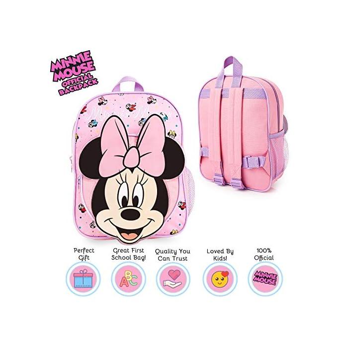 51xzd iIrZL MOCHILA ESCOLAR DE MINNIE --- ¡El mejor regalo para todos los fans de las películas de Disney! Esta bonita mochila de color rosa en diseno 3D es perfecta tanto para ir al colegio como para ir de vacaciones. Presenta a tu personaje favorito de Disney Minnie Mouse y su famoso lazo. Tiene espacio suficiente para libros, ropa o juguetes y viene con correas acolchadas para mayor comodidad. MERCHANDISING OFICIAL DE DISNEY --- Nuestras mochilas escolares de Disney tienen licencia oficial, por lo que no se preocupe, cuando compra a través de nosotros está adquiriendo un producto de calidad. GRAN CAPACIDAD --- Esta mochila clásica de Disney tiene espacio suficiente para guardar material escolar, juguetes, el almuerzo o un cambio de ropa. Cuenta con un compartimento principal con cremallera, un bolsillo lateral de malla para bebidas, y un pequeño bolso en la parte delantera que pueden usar a modo de estuche escolar.