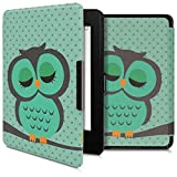 kwmobile Case for Amazon Kindle Paperwhite (10. Gen - 2018) - Book Style PU Leather Protective e-Reader Cover Folio Case - Sleeping Owl Turquoise/Brown/Mint