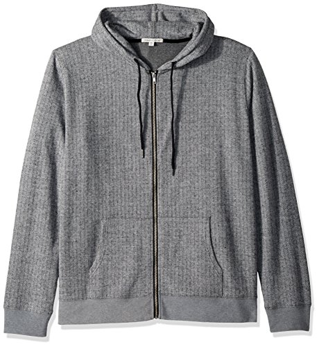 Threads 4 Thought Men's Herringbone Zip Hoodie, Black/Grey, M