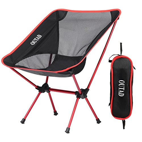 Ultralight Portable Camping Chairs, Homgrace Lightweight Comfortable Beach Outdoor Folding Chairs with Mini Carry Bag for Fishing, Hiking, Camp, Picnic, Outdoor Travel Use (Red) (Beach Chair Folding Mini)