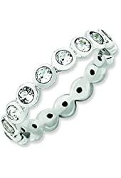 3.5mm Sterling Silver Stackable Expressions April Swarovski Element Ring - Ring Size Options: 10 5 6 7 8 9