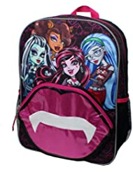 Monster High Kiss The Ghoul Lip Zip Pocket 16 inch Backpack with Side Mesh Pockets