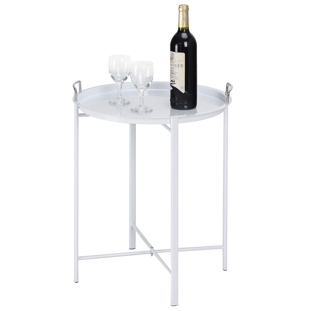 Giantex Patio Coffee Table Side Table Steel Tray Under Sofa Coffee Table for Living Room Waiting Room Bedroom Balcony End Table(White)