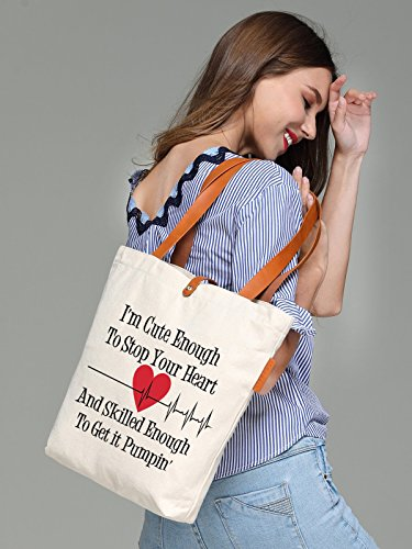 So'each Women's I'm Cute Love Letters Top Handle Canvas Tote Shoulder Bag