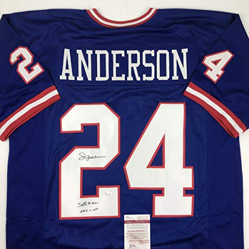 Autographed/Signed Ottis Anderson SB XXV MVP New York Blue Football Jersey JSA COA