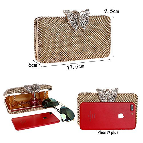 Clutches For Decoration Cocktail Bags Lady Cross For Engagement Bag Parties Wedding Body Bag Butterfly Rhinestone Dress Women's Silver Chain Wristlets Evening qtfwfFP