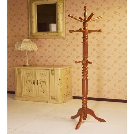 Home Craft Traditional Spinning Top Wooden Coat Rack, Oak -