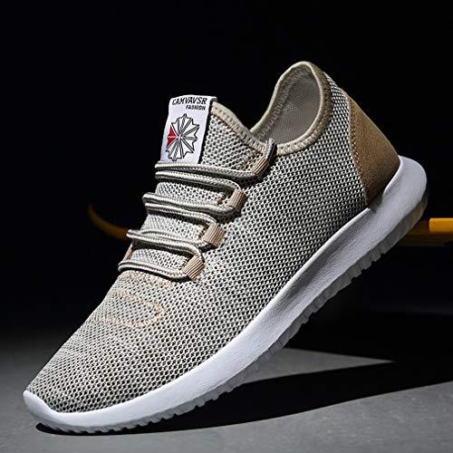 Sneakers Sportive di Running 3 Testa Scarpe Rotonda Scarpe Corsa Taglia Fitness Juleya Ginnastica 44 39 da Uomo Beige Nette Colori Scarpe Tela 6qwZxzP