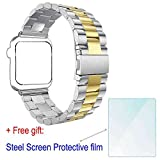 ZhenYue 2016 Latest Solid Stainless Steel Metal Replacement 3 Pointers Watchband Bracelet Strap Bands Band +Double Button Folding Clasp for Apple Wrist Watch Iwatch Series 1 2 (Silver+Gold, 42mm)