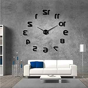 Guokee Al revés DIY Gran Reloj de Pared Diseño Moderno Números Invertidos Reloj de Pared Sin