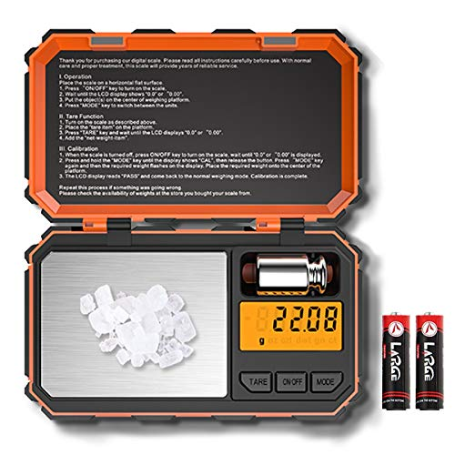 Mini Digital Pocket - [2019 New]Digital Pocket Scale, 200g /0.01g Mini Scale, Highly Accurate Multifunction with Premium Stainless Steel Finish, LCD Backlit Display, 6 Units, Auto Off, Tare (Orange,Battery Included)