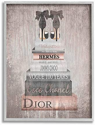 Stupell Industries Book Stack Heels Metallic Pink Gray Framed Wall Art, 16×20, Multi-Color