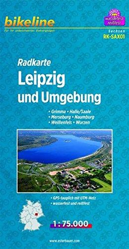 Bikeline Radkarte Leipzig und Umgebung, Grimma, Halle/Saale, Merseburg, Naumburg, Weißenfels, Wurzen, RK-SAX01. 1 : 75 000, wasserfest/reißfest, GPS-tauglich mit UTM-Netz