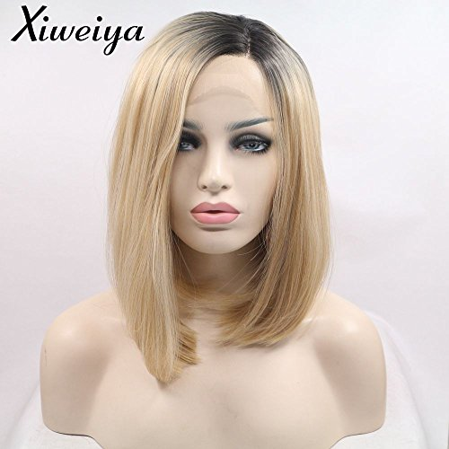 (Xiweiya Short Bob Wig Ombre Blonde Side Part Heat Resistant Synthetic Lace Front Wigs For Women Dark Root Blonde Short Haircut Hand Tied Replacement Full Wig)