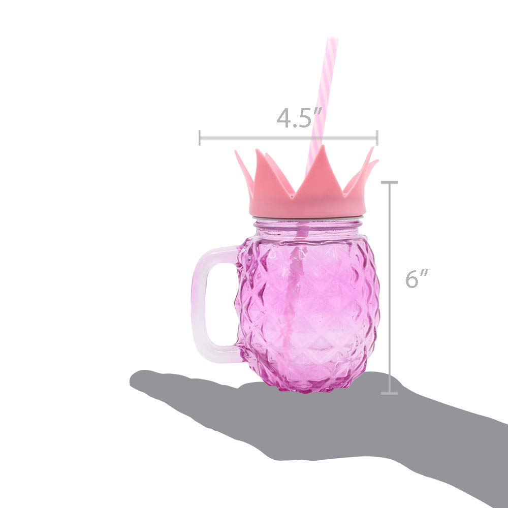 Pineapple Fun Drinking Glass Jar Mug Cup with Straw | Great for Pool Parties, Outdoor Sports Events, Spring & Summer, and More! (2 pack, Pink)