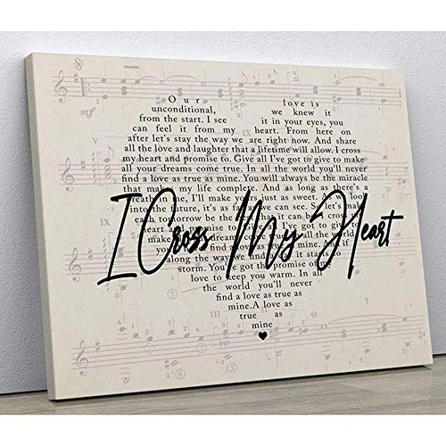 Mini Wood George Strait Poster, I Cross My Heart Lyric Heart Typography Poster, No Frame, Art Poster, Love Anniversary Poster, Song Lyrics - Wall Cross Heart