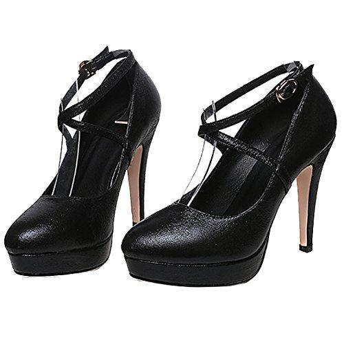 AIYOUMEI Stilettos High Heels Plateau Pumps mit Knöchelriemen Damen Hochzeit Party Schuhe Schwarz