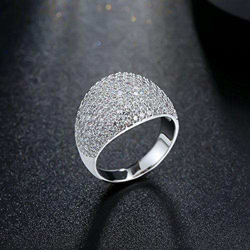 White Diamond Accent Dome Ring - Cluster Cubic Zirconia Paved Statement Wide Bands Size 5-11 by Hiyong (Image #3)