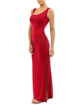 Vestido Maxi Largos Ajustados Elegante Mujer Sin Mangas Vestido De Noche Trajes De Fiesta Coctel Rojo
