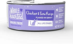 WholeHearted All Life Stages Canned Cat Food - Grain Free Chicken and Tuna Recipe Flaked in Gravy, 2.8 OZ, Case of 12, 12 X 2.8 OZ