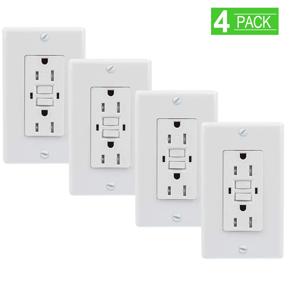 Upgraded GFCI Outlet, SZICT UL-listed 15A Dual Indicator Self Test GFCI Tamper Resistant GFCI Outlet with 2 Wall Plates Included 1 Screwless Plate for Ground Fault Circuit Interrupter[4 Pack]