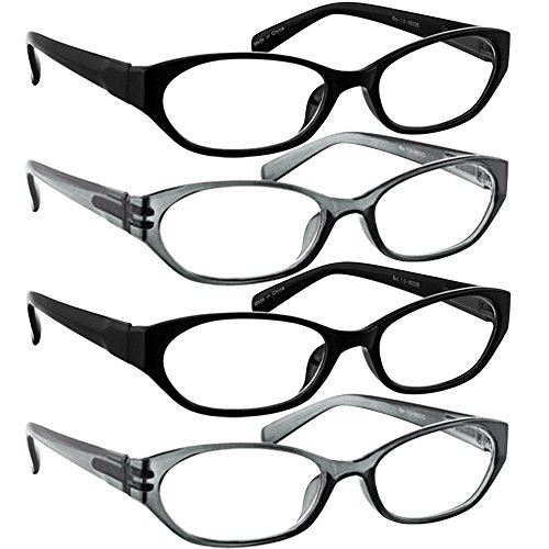Reading Glasses 500 (4 Pack) 2 Black 2 Gray F502