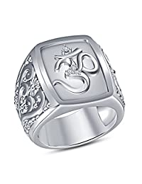 """TVS-JEWELS New Excellent White Platinum Plated 925 Sterling Silver Religious """"OM"""" Men's Ring Round Cut"""
