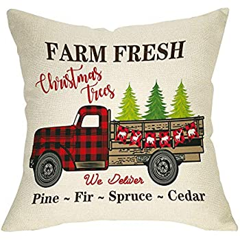 Ussap Farm Fresh Christmas Trees Vintage Red Truck Winter Holiday Decoration Merry Xmas Farmhouse Decorative Throw Pillow Cover Cushion Case for Sofa Couch Home Decor Cotton Linen 18